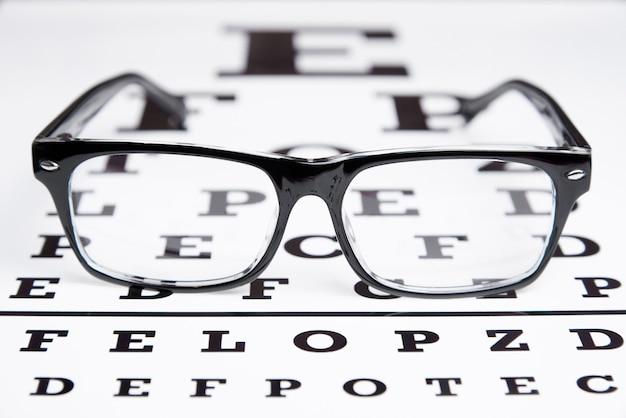 Glazen liggen op de tafel voor oogonderzoek Premium Foto