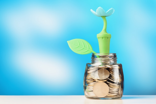 Glazen pot gevuld met munten met bloem en blad. investeringsgroei concept. Premium Foto