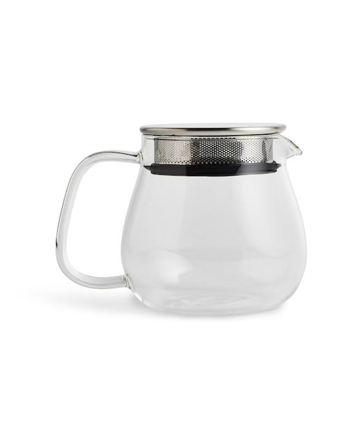 Glazen theepot geïsoleerd op een wit oppervlak Gratis Foto