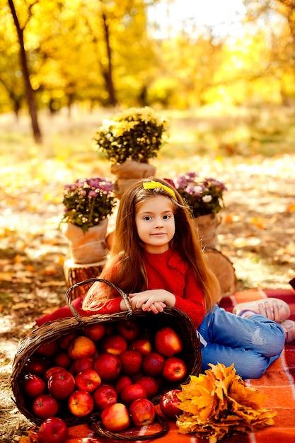 Glimlachend kind dat met mand van rode appelen in de herfstpark zit Premium Foto
