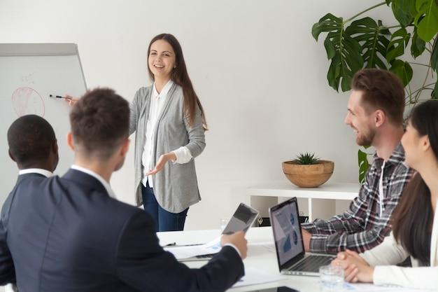 Glimlachende jonge werknemer die presentatie geeft die met flipchart in vergaderzaal werkt Gratis Foto