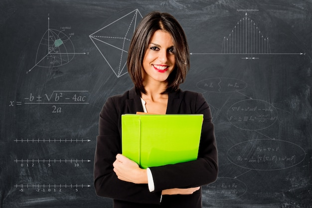 Glimlachende professionele lerarenvrouw Premium Foto