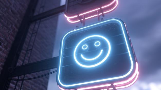 Gloeiend zet neonreclames aan met grappige en droevige emoticons tegen de achtergrond van een bewolkte hemel. Premium Foto
