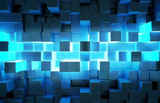 Gloeiend zwart en blauw vierkantenpatroon als achtergrond Premium Foto