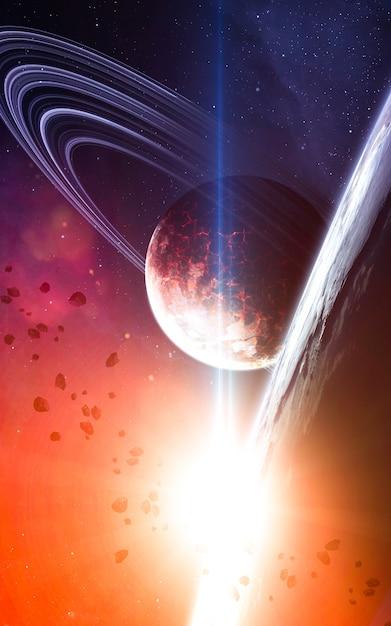 Gloeiende ster in diepe ruimte Premium Foto
