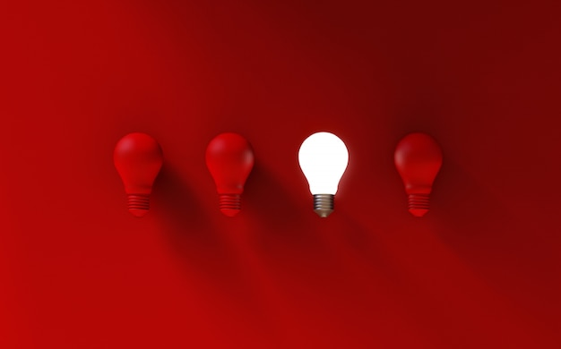 Gloeilampen op rood Premium Foto