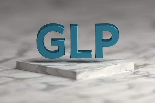 Glp-brieven in blauwe glanzende metaaltextuur die over marmeren voetstukpodium vliegen. glp - standaardconcept voor goede laboratoriumpraktijken voor presentatie. Premium Foto