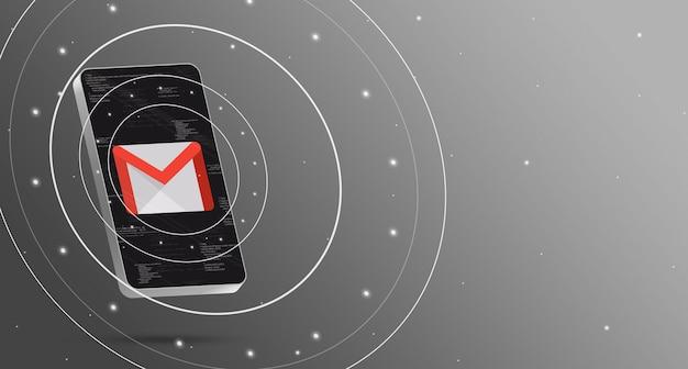 Gmail-logo op telefoon met technologische weergave, slimme 3d render Premium Foto