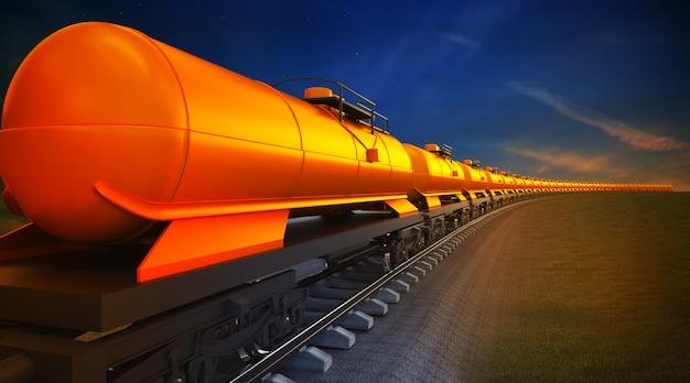 Goederentrein met oliereservoirs op de hemelachtergrond Premium Foto