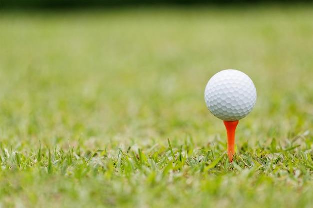 Golfbal op green Premium Foto