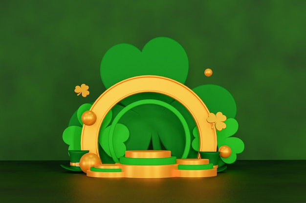 Goud en groen saint patrick podium 3d render achtergrond Premium Foto