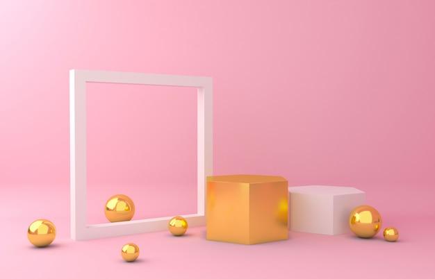 Goud en wit display achtergrond Premium Foto