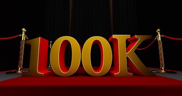 Gouden 100k of 100.000 dank u, webgebruiker dank u vieren van abonnees of volgers en likes, 3d render Premium Foto