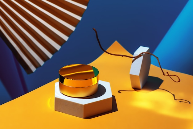 Gouden anti-aging pleisters, crèmeserum met collageen in geometrische vormen Premium Foto