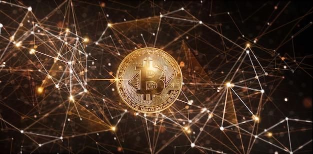 Gouden bitcoin digitale valuta op netwerken etereum cryptocurrency Premium Foto