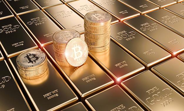 Gouden bitcoin-munten op klassieke ingots, concept van cryptocurrency en economie. Premium Foto
