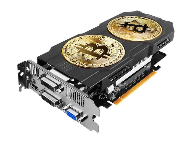 Gouden bitcoin op een grafische kaart Premium Foto