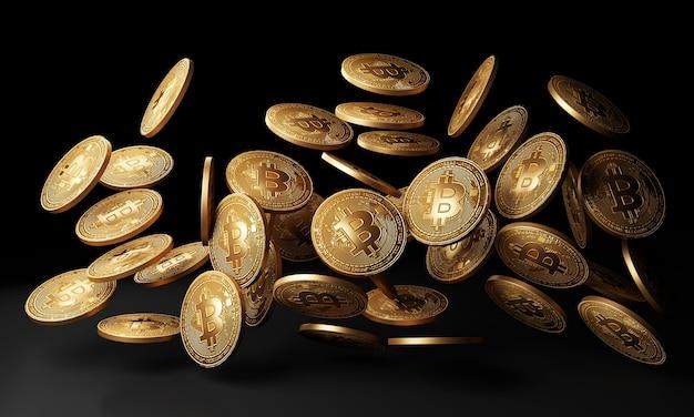 Gouden bitcoins dalen in zwarte achtergrond 3d rendering Premium Foto