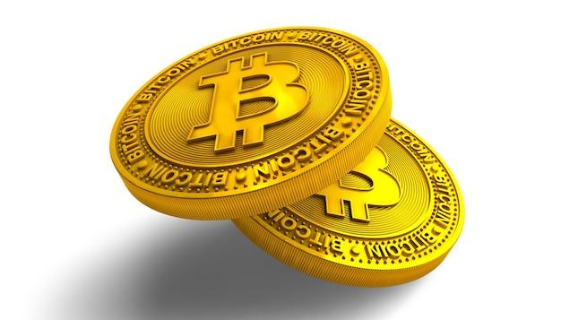Gouden bitcoins geïsoleerd op wit Premium Foto