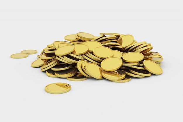 Gouden blanco munten in een stapel Premium Foto