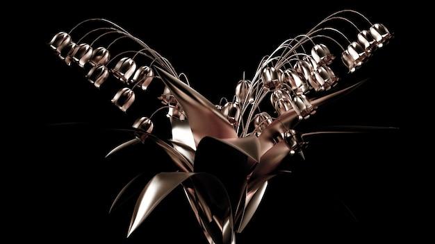 Gouden bloempapier. 3d-afbeelding, 3d-rendering. Premium Foto