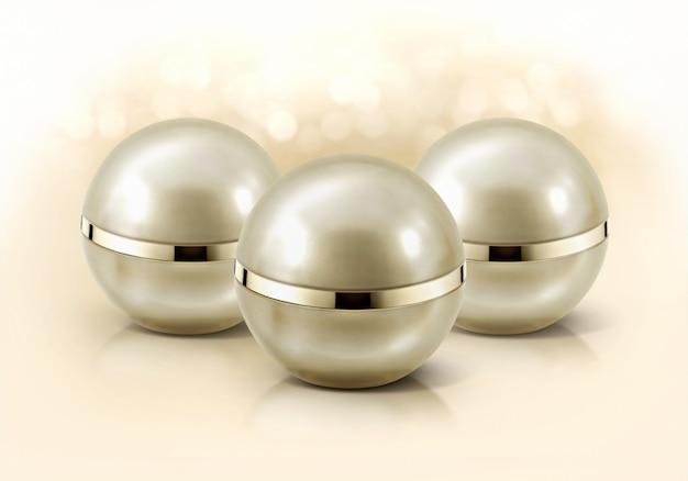 Gouden bol cosmetische potten Premium Foto