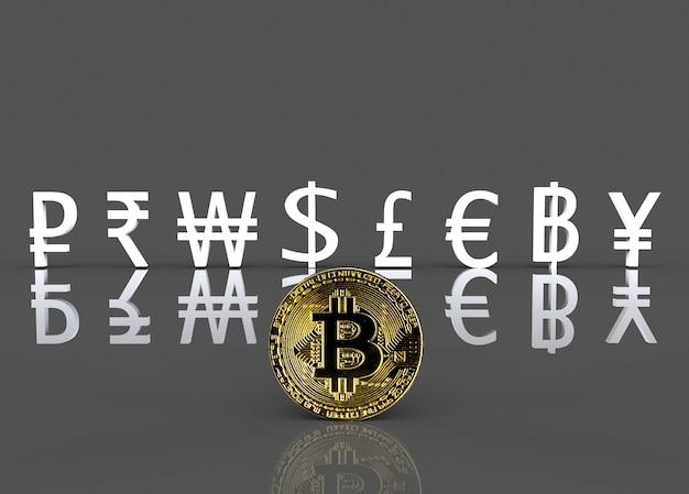 Gouden cryptocurrency op de voorkant van witte internationale valutateken Premium Foto