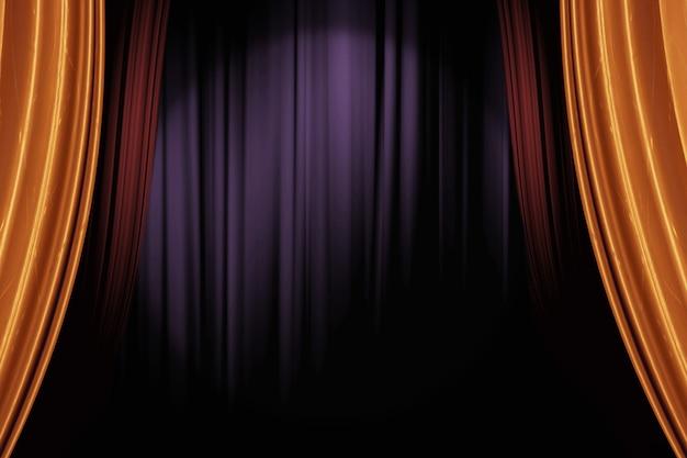 Gouden en rode toneelgordijnen openen in het donkere theater voor een achtergrond met live-optredens Premium Foto