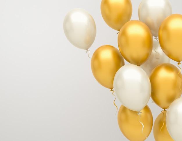 Gouden en zilveren ballonnen achtergrond Premium Foto