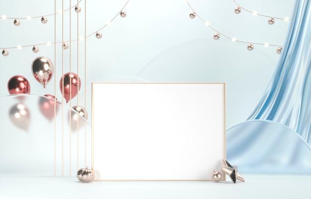 Gouden frame voor foto met witte ruimte, zijden gordijnen en vakantieballonnen Premium Foto