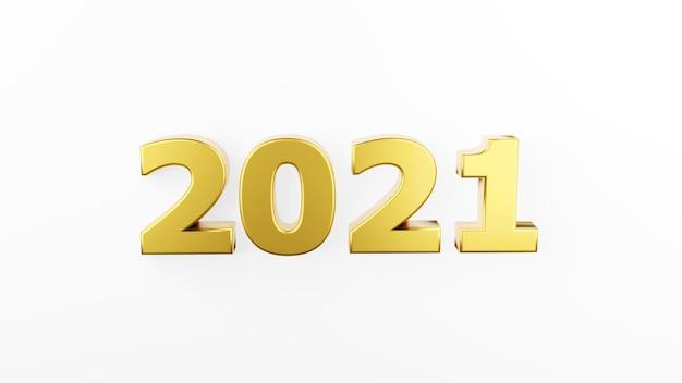 Gouden inscriptie 2021 geïsoleerd op een witte achtergrond. gelukkig nieuwjaar 2021. illustratie voor reclame. 3d-weergave. Premium Foto