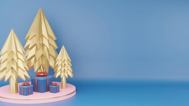 Gouden kerstboom en sluiten klassieke blauwe geschenkdoos met rood lint op roze cirkelpodium Premium Foto
