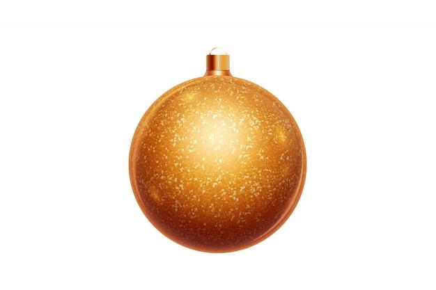 Gouden kerstmisbal die op witte achtergrond wordt geïsoleerd. kerstversiering, ornamenten op de kerstboom. Premium Foto