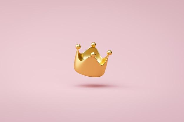 Gouden kroon op roze achtergrond met overwinning of succesconcept. luxe prinsenkroon voor decoratie. 3d-weergave. Premium Foto