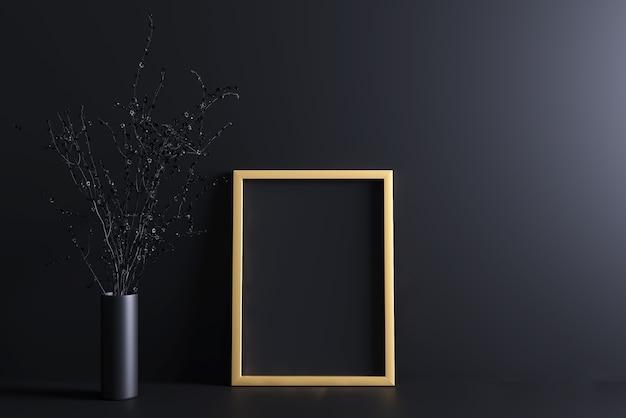 Gouden lijstmodel Premium Foto