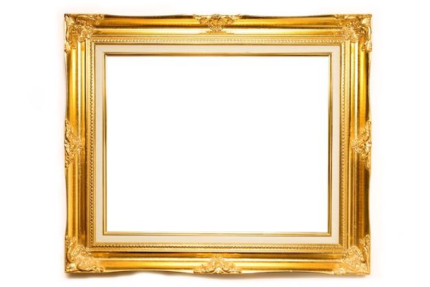 Gouden luxe louise fotolijst op witte achtergrond Premium Foto