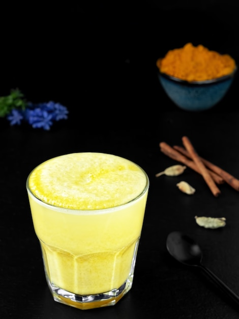 Gouden melk met kurkuma en andere kruiden op een zwarte ondergrond Gratis Foto