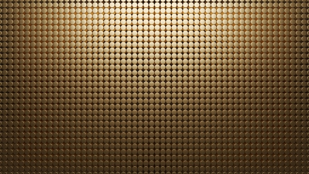 Gouden metalen achtergrond van kleine cirkels. patroon mesh abstract 3d render. koolstof materiaal. textuur Premium Foto