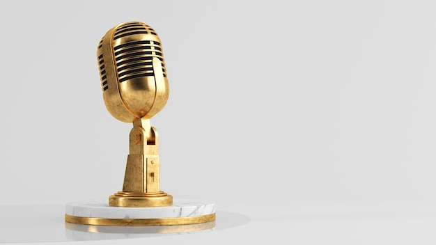 Gouden microfoon podcast concept 3d-rendering Premium Foto