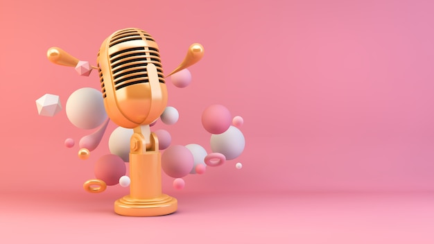 Gouden microfoon Premium Foto
