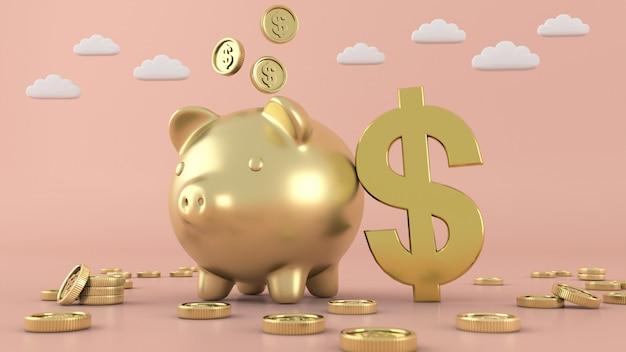 Gouden munten geïsoleerd geld, 3d-rendering Premium Foto