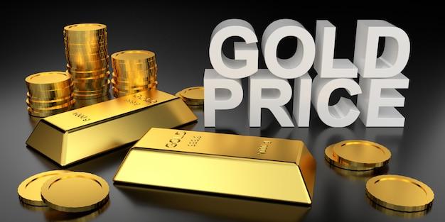 Gouden prijs voor websitebanner. 3d-weergave van goudstaven. Premium Foto