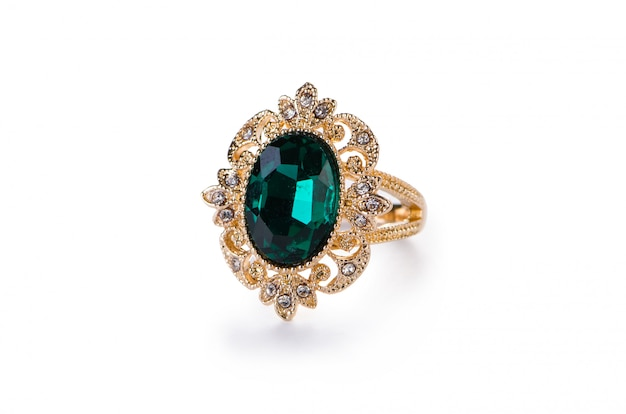 Gouden sieraden ring geïsoleerd Premium Foto