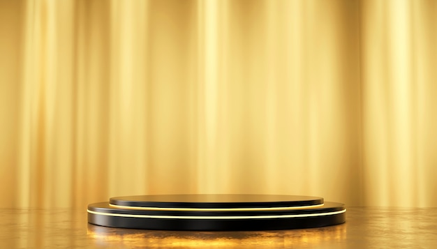 Gouden zijde muur en metalen podium permanent sjabloon voor producten reclame en commerciële, 3d-rendering. Premium Foto
