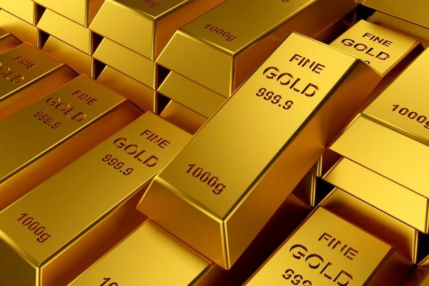 Goudstaven voor website. 3d-weergave van goudstaven. Premium Foto
