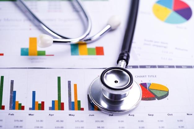 Grafiek van de stethoscoop, grafieken en grafieken Premium Foto