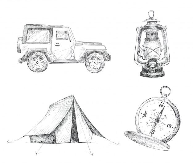 Grafische camping thema clipart set geïsoleerd. auto, tent, vintage lantaarn en kompasillustraties. reizen concept ontwerpset. Premium Foto