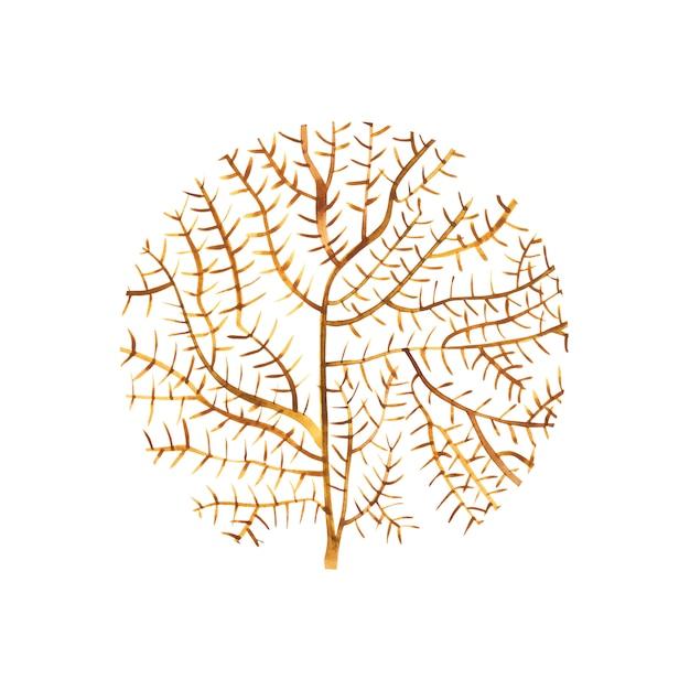 Grafische koraalcirkel. aquarel illustratie. tattoo kunst of t-shirt design geïsoleerd op een witte achtergrond. Premium Foto