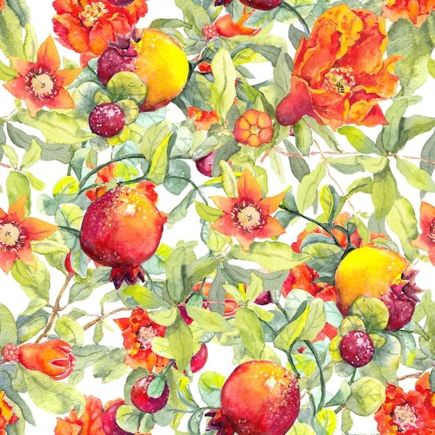 Granaatappelvruchten, rode bloemen naadloze bloemenpatroon waterverf Premium Foto