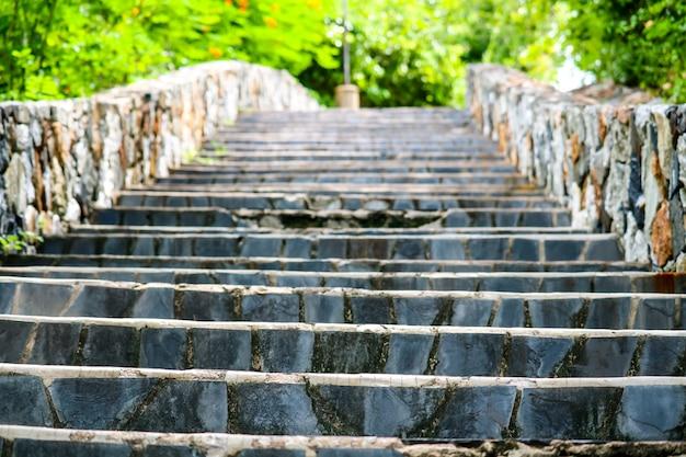 Stenen Muur Tuin : Granieten trappen en stenen muren in de tuin en groene plant